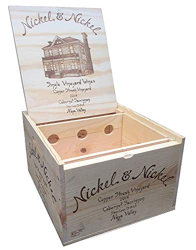 Vineyard Crates Wine Crate - Original Nickel & Nickel Cabernet Wooden Wine Box with Lid and Wine Bottle Storage Inserts - 14x12x8 inches