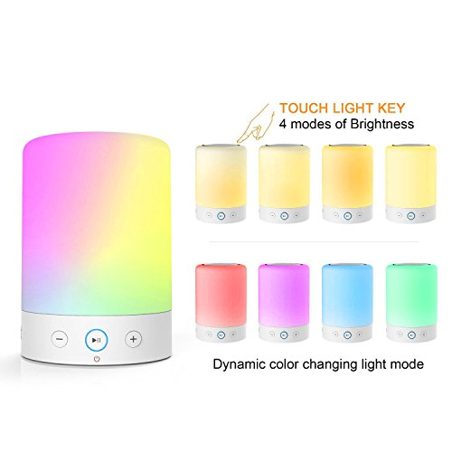 MOXNICE Table Lamp with Bluetooth Speaker Portable Dimmable Night Lights Smart Touch Wireless Speaker Bedside Lamps with Color Changing,Hands-free,Timing Function, Best Gift for Baby Kid Teen Women by MOXNICE (Image #1)