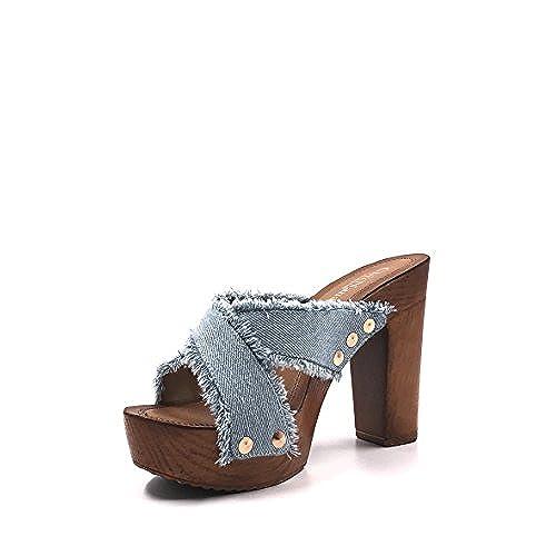 CHIC NANA . Chaussure Femme Mode Sandale sabot jeans à talon