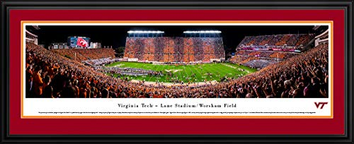 (Virginia Tech Football, Stripe - 44x18-inch Double Mat, Deluxe Framed Picture by Blakeway Panoramas)