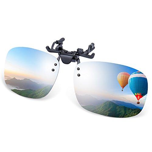 Costyle Silver Mirror Myopia Retro Polarized Clip-on Flip-up Plastic Sunglasses Driving Fishing Outdoor Sport-5.3X2.4X1.4 INCH ()