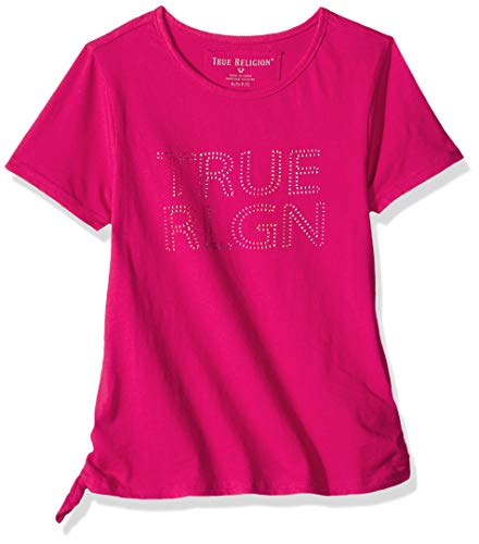 True Religion Girls' Big Fashion Short Sleeve Tee Shirt, Mock tie Raspberry - Tie Religion