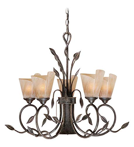Black Walnut Capri 5 Light Single Tier Chandelier with Frosted Glass Shades - 29 Inches Wide