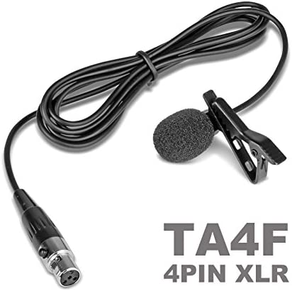 Lapel Lavalier Microphone with Mini XLR TA4F 4 Pin Connector for Shure Wireless