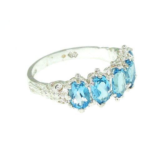 Sterling Silver Ladies 5 Stone Blue Topaz Ring