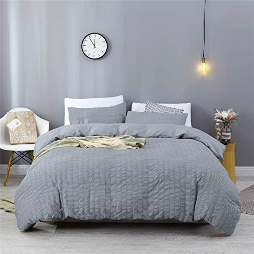 Estoulen Duvet Cover, 100% Washed Microfiber Bedding Set 3 Piece, Soft and Luxury Stripe Textured Seersucker Duvet Cover with Zipper Closure & Corner Ties