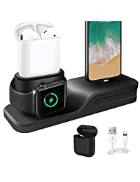 3 in 1 Charging Stand for iPhone AirPods Apple Watch Charger Dock Station Silicone,Support for Apple Watch Series 3/ 2/ 1/ AirPods/ iPhone X/8/ 8 Plus/ 7/ 7 Plus /6s Black