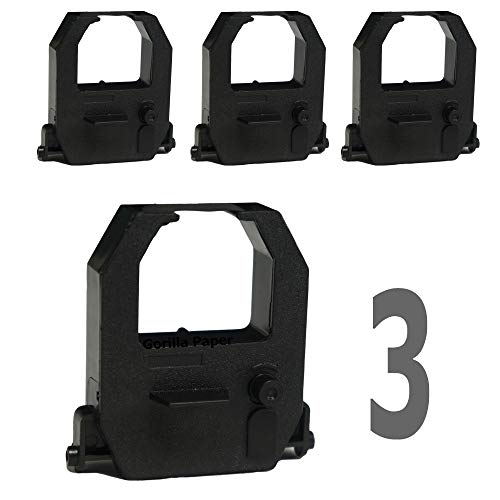 - 3-Pack Gorilla Supply Compatible Time Clock Ink Ribbons for Amano Pyramid-6400 TCX-10 TCX-11, Black
