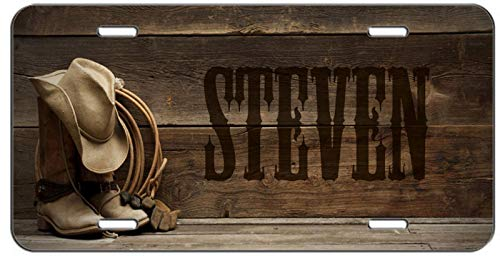 (Western Cowboy Boots Hat and Rope Personalized Auto Truck Car Front Tag Military Aluminum Metal License Plate Frame Cover 12 x 6 Inch)