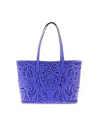 Bolso Mediano de Piel con Diseño Elaborado con Técnica Cincelado color Azul Rey