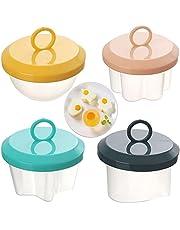 Steamed Egg Mold, 4 Pack Egg Molds Egg Shaper, Cute Egg Molds for Kids, Boiled Egg Mold Baby Food Mold for Instant Pot, Love Heart Star Flower Round Egg Shaper