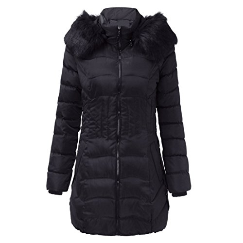 LUCA Womens Big Size Trench Outwear Slim Plush Hooded Winter Warm Solid Long Down Jacket Coat (Black, (Down Bed Jacket)
