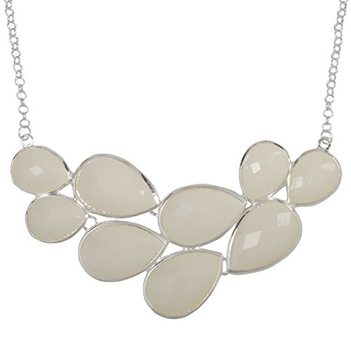 Jane Stone Silver Color Bubble Bib Necklace Fancy Chunky Necklace Fashion Jewelry Statement Necklace Evening Party Jewellery(Fn0564-S-Ivory) (Ivory Necklace Womens)