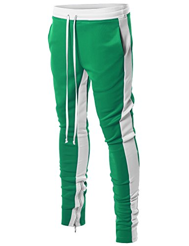 Style by William Dual Side Panel Over Length Drawstring Ankle Zipper Track Pants Green White (Green Drawstring Pants)