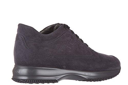 Hogan chaussures baskets sneakers homme en daim interactive h rilievo blu