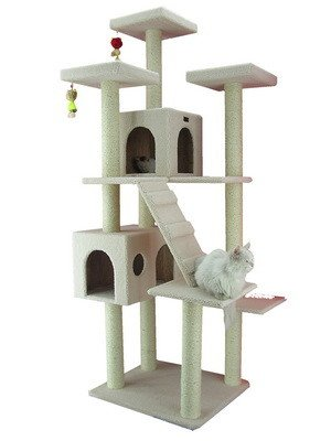 77 Classic Cat Tree in Ivory - Premium Cat Tree for Large Cats and Kittens, Cat Furniture Bundles with Scratching Post and Cat Condo, Cheap Cat Trees and Condos with 6 Months Warranty by Armarkat by Armarkat