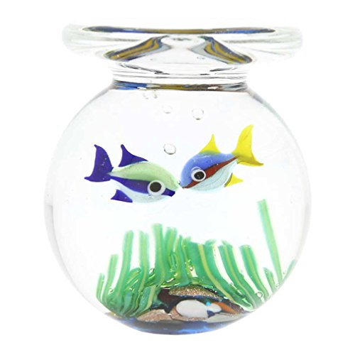 - GlassOfVenice Murano Glass Aquarium Jar with Two Tropical Fish