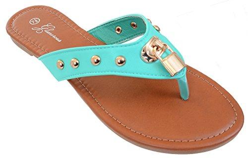 Låse Piggdekk Flip-flop Thong Slip-on Sandaler Fourever Funky Mynte