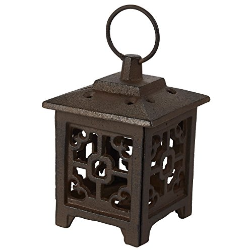 Juvale Rustic Iron Lantern Candle Holder - Vintage Square Candle Centerpiece, Tea Light Candle Table Decoration for Living Room, Dining Area, and Garden, Brown, 4.1 x 7.7 x 4.1 Inches