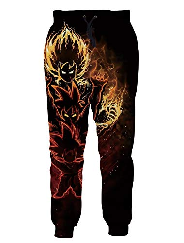 Ocsoc Jogging Pants for Women Mens Goku Dragon Ball Z 3D Monster Printing Elastic Waist with Two Side Pocket Joggers