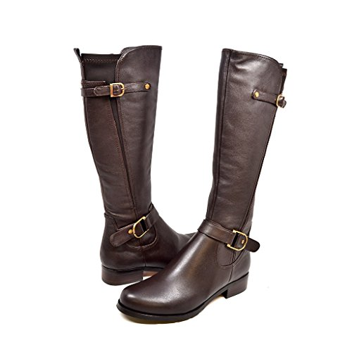 "SoleMani Avigial 13"" Slim Calf Women's Brown Leather Boot 5.5"