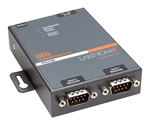 Lantronix UDS2100 Device Server for serial to Ethernet conversion - Convert from RS-232, RS-485, RS-422. DB-9, 2-wire, 4-wire, serial to RJ-45 10/100 Mbs Fast Ethernet; Wall mountable, Rail mountable - UD2100001-01 by Generic