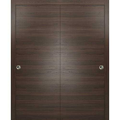 Bypass Sliding Doors 60 x 84 inches with Tracks | Planum 0010 Chocolate Ash | Hangers Set Sturdy Top Mount | Solid Wood Door Flush ()