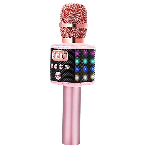 BONAOK Wireless Bluetooth Karaoke Microphone with Multi-color LED Lights Handheld Portable Speaker Machine for Android/iPhone/iPad/Sony/PC or All Smartphone