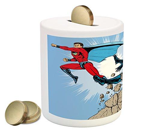 Lunarable Superhero Piggy Bank, Old School Comic Book Hero and Villain on the Rocks Punching Kicking Cartoon, Printed Ceramic Coin Bank Money Box for Cash Saving, Multicolor