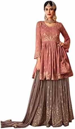 33743fda87 Designer Pure Georgette Short Kurti Sharara suit with Dupatta for Women Indian  Muslim dress 7705