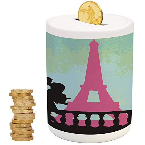 Kiss,Piggy Bank Coin Bank Money Bank,Christmas Birthday Gifts for Kids Boys Girls Home Decoration,Couple in Paris Kissing Near The Eiffel Tower Valentines Day Hand Drawn Style - Valentine Dragon Ball