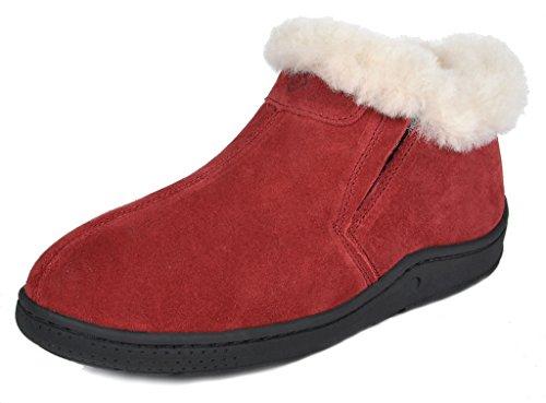 DREAM PAIRS Women's Huggie-01 Burgundy Sheepskin Fur Winter House Slippers Size 8.5-9 M US