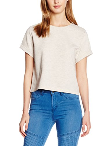 PIECES Pcbibi Crop Sweat Tee, Camiseta para Mujer Gris (Whitecap Gray)