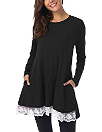 Women Lace Long & Short Sleeve Tunic Top Blouse with Pockets