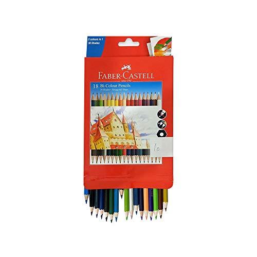 Set of 18 Colour Pencils in Hexagonal Shape Faber-castell Dual Sided Bi
