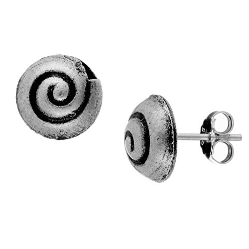 81stgeneration Women's .999 Fine Silver Karen Hill Tribe 10 mm Snail Seashell Spiral Stud Earrings - Hill Tribe Silver 10mm