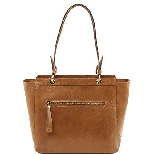 Tuscany Leather TL NeoClassic Borsa shopper in pelle con doppi manici Talpa scuro Talpa scuro