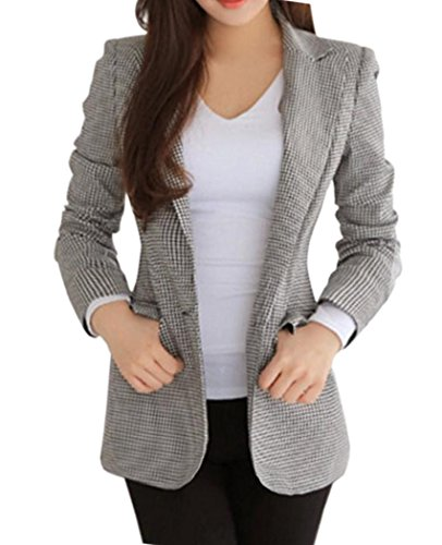 Houndstooth Blazer (NUTEXROL Women's Office Plaid Blazer Jacket Coat Long Sleeve Buttoned)