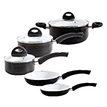 Gibson 92683.08 Home Stanza 8-Piece Aluminum White Ceramic Nonstick Cookware Set, Multi-Size, Black