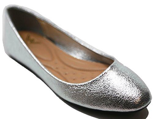 Walstar Womens Ballerina Ballet Flat Shoes Solids & Glitter(SILVER, SHIMMER GLITTER,10)