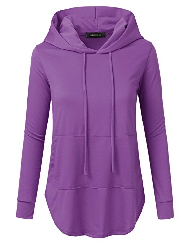 (Doublju Womens Casual Lightweight Long Sleeve Pullover Hoodie with Plus Sizes Lightpurple 3X)