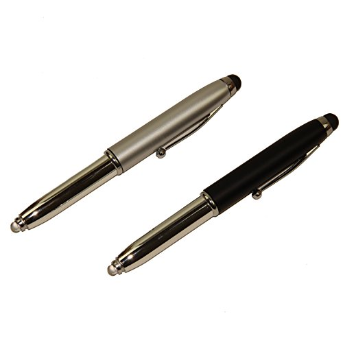 Simply Screen Ink (Elegant Stylus Pen In Box! Stylus,Compatible With Any Touch Screen Device - Mini LED Light + 3 Spare Batteries - Black Ink Ballpoint Pen With Cover, Double Pack! By Mega Stationers)
