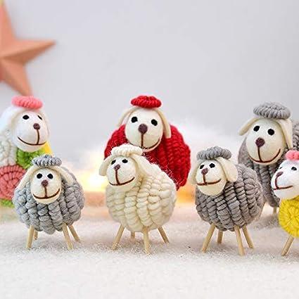 Vi.yo.Christmas Decoration Ornaments Gris Mouton Forme D/écoration Pendule De Table La Maison D/écorations De F/êtes 10 16 CM-L