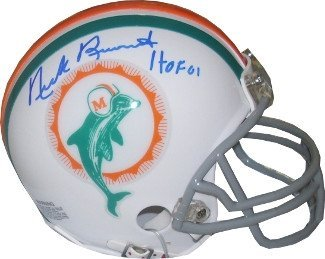 Nick Buoniconti Autographed/Hand Signed Miami Dolphins TB Replica Mini Helmet HOF 01 (blue sig)