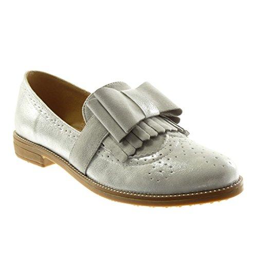 2 Knoten Perforiert Slip Angkorly 5 Fransen Cm Schuhe Silber On Ygyf7mbvI6
