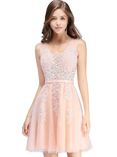 Babyonlinedress Sheer Lace Short Bridesmaid Dresses Corset Wedding Guest Gown,Pink,Size 2