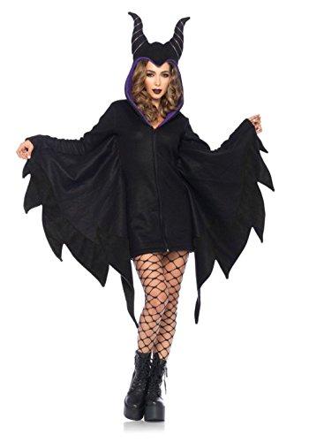 Mememall Fashion Maleficent Sleeping Beauty Deluxe Black Gown Onesie Dress Halloween Horns Cozy (Giraffe Deluxe Latex Mask)