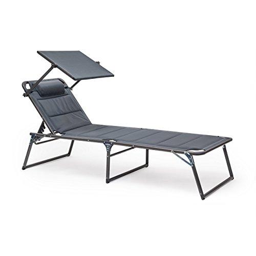 Gartenliege dach  WARN: Relaxdays Sonnenliege mit Dach gepolstert HBT 37 x 70 x 200 ...