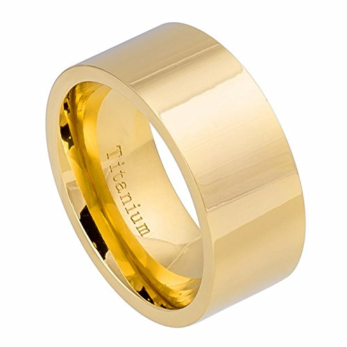Gold Tone Titanium Plated (Mens Titanium Wedding Band 12mm Thick Pipe Cut Gold Tone Ion Plated Ring Size 11)