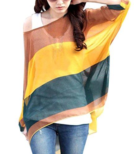 LATH.PIN Mujeres Bohemian 3/4 Sleeve Chiffon Blouse Off Shoulder T-shirt Boho-16